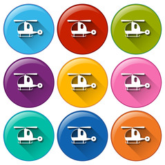 Rounded buttons with helicopters