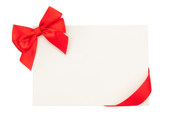 Valentines day greeting card with red ribbon