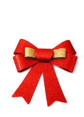 Red and gold ribbon isolated on white, clipping path.