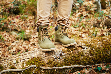 Hiker standing on fallen tree trunk