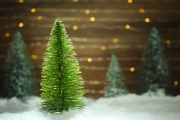 Peaceful winter scene with Christmas tree