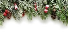 "Постер, картина, фотообои ""Christmas tree branches background"""