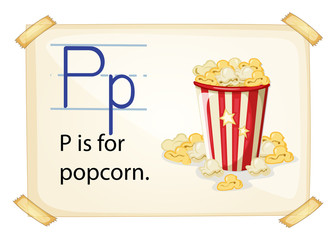 A letter P for popcorn