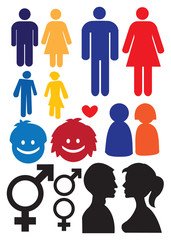 Man and woman gender and relationship symbols