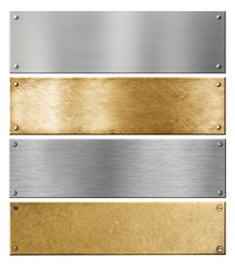 silver and brass metal plates or plaques with rivets set