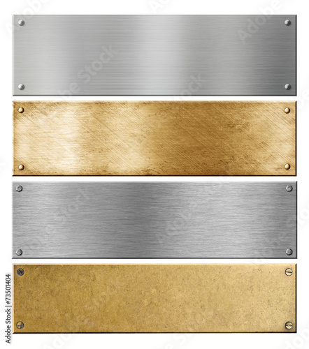 canvas print picture silver and brass metal plates or plaques with rivets set