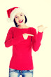 Santa woman pointing on side