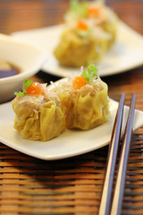 Chinese Steamed Pork and Glass noodles Dumplings, Dim Sum