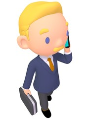businessman holding smart phone illustration