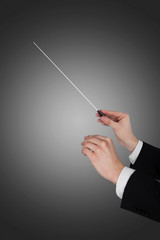 Music Conductor's Hands Holding Baton