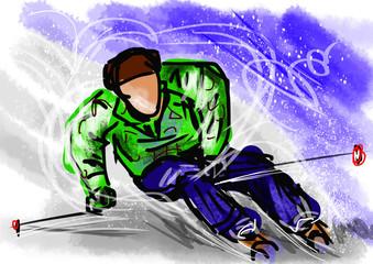 hand draw ski