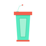 green trapezoidal tribune icon with microphone poster