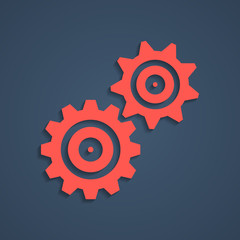 red gear icon with shadow