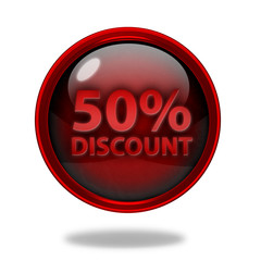Discount 50 circular icon on white background