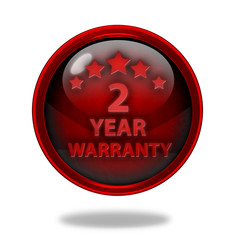 Two year warranty circular icon on white background