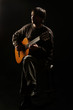 Acoustic guitar player guitarist. Classical guitar playing