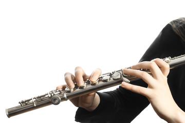 Flute music instrument closeup