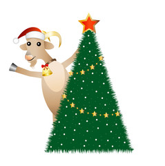 merry goat and christmas tree