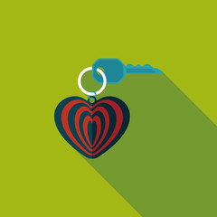 Valentine's Day lover keychain flat icon with long shadow,eps10