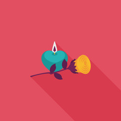 Valentine's Day candle and flower flat icon with long shadow,eps