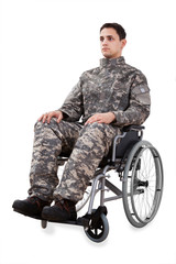 Determined Soldier Sitting In Wheelchair