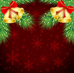 christmas background with the sprigs of fir-tree and campanellis