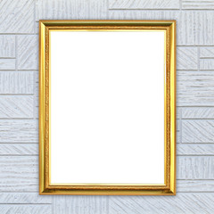 golden frame on modern wall background