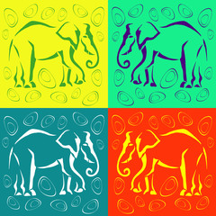 Seamless elephant colored background. Abstract.