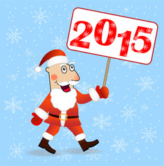 merry Santa claus with numbers 2015