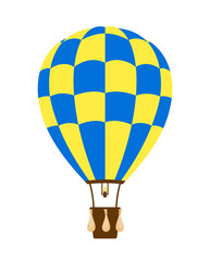 Hot air balloon in blue and yellow design