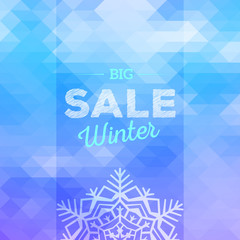 Winter sales vector polygonal background