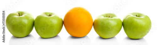 Juicy apples and orange, isolated on white