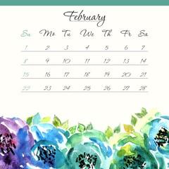 Calendar template 2015. February.