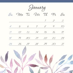 Calendar template 2015. January.