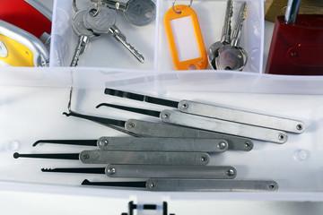 Set of keys, lock picks close-up