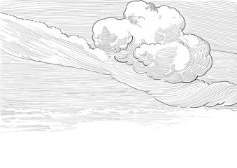 Vector background of cloudy sky  at engraved style