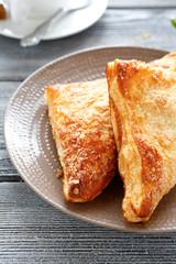 Crispy charlotte pie on a plate