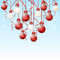Red and white Christmas balls with snow