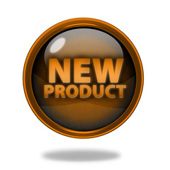 new product circular icon on white background