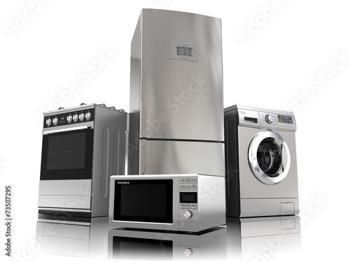Leinwandbild Motiv Home appliances. Set of household kitchen technics