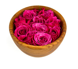 roses in wooden bowl isolated on white