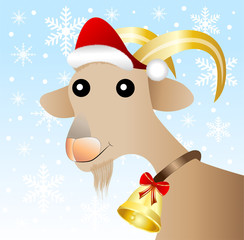 merry goat  in a christmas cap