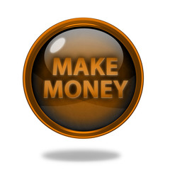 Make money circular icon on white background