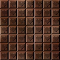 Seamless chocolate bar with hearts