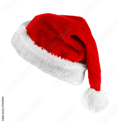 canvas print picture Santa red hat isolated in white background