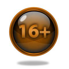 16+ circular icon on white background
