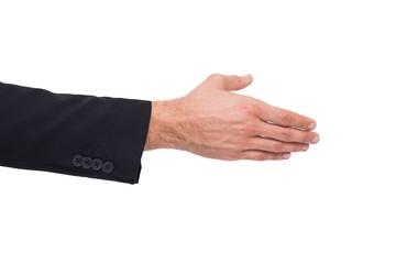 Close up of businessman offering handshake