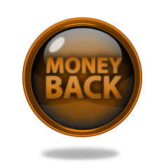 Money back circular icon on white background