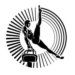 Athlete on the pommel horse.