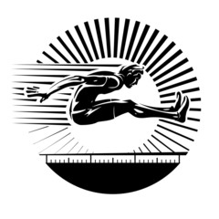 Long jump. Vector illustration in the engraving style